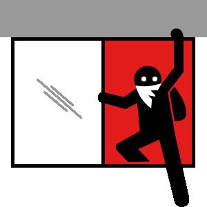 Break and Enter - burglar exiting through window