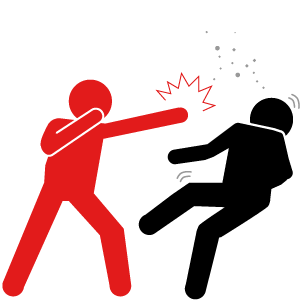 Troublesome neighbours causing a fight icon